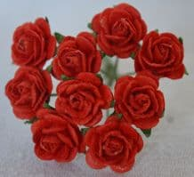 1 cm RED Mulberry Paper Roses