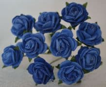 1 cm ROYAL BLUE Mulberry Paper Roses