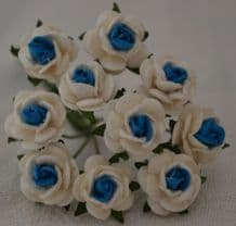 1 cm WHITE DEEP TURQUOISE CENTER Mulberry Paper Roses