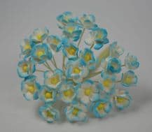 1.3cm CYAN BLUE DOUBLE-LAYERED Daisy Mulberry Paper Flowers