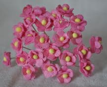 1.3cm MEDIUM PINK DOUBLE-LAYERED Daisy Mulberry Paper Flowers