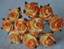 1.5cm 2 tone APRICOT Mulberry Paper Roses