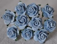 1.5cm BABY BLUE Mulberry Paper Roses