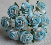 1.5cm CYAN BLUE  Mulberry Paper Roses