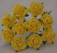 1.5cm LIGHT YELLOW Mulberry Paper Roses