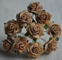 1.5cm MOCHA BROWN Mulberry Paper Roses