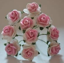 1.5cm PALE PINK CENTER WHITE Mulberry Paper Roses