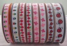 10 &15mm RED LADYBUGS GROSGRAIN RIBBONS, 3 meters