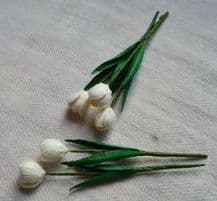10 WHITE TULIPS Mulberry Paper Flowers (1.2 cm)