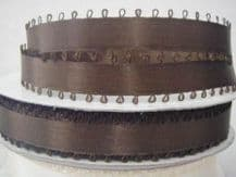 "10mm (3/8"") CHOCOLATE BROWN PICOT EDGE DOUBLE SIDED SATIN ribbon, 3.0 mtrs"