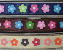10mm COLOURFUL DAISIES GROSGRAIN RIBBON
