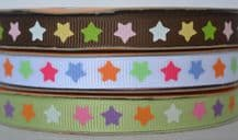 10mm COLOURFUL STARS GROSGRAIN RIBBON