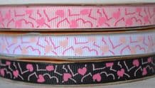 10mm PINK HEARTS GROSGRAIN RIBBONS
