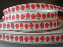 10mm RED STRAWBERRYS GROSGRAIN RIBBON