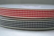 """15mm (5/8"""") FINE CHEQUES GINGHAM  cotton ribbon 3 mtrs"""