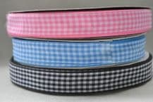 """15mm (5/8"""") PINK, BABY BLUE, BLACK GINGHAM  cotton ribbon 3 mtrs"""
