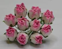 15mm ROSY PINK HIP ROSE BUDS (L) Mulberry Paper Flowers