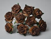 2 tone CHOCOLATE BROWN ROSES (2.0cm) Mulberry Paper Roses