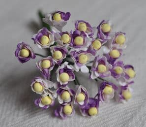 2 tone LILAC GYPSOPHILA / FORGET ME NOT with Beads Mulberry Paper Flowers