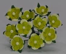 2 tone LIME GREEN 2-LAYERED sweetheart blossom Mulbery Paper Flowers