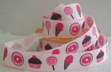22mm CANDY, ICECREAM, BISCUIT & CUPCAKE GROSGRAIN RIBBONS