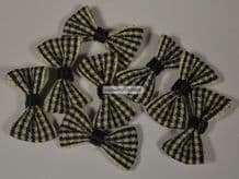 25 pcs BLACK (M) GINGHAM COTTON Ribbon Bows