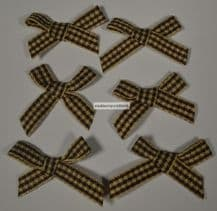 25 pcs DARK BROWN MOCHA  (30mm) GINGHAM COTTON Ribbon Bows