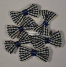 25 pcs NAVY BLUE (M) GINGHAM COTTON Ribbon Bows