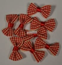 25 pcs RED (M) GINGHAM COTTON Ribbon Bows