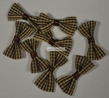 25 pcs WALNUT BROWN (M) GINGHAM COTTON Ribbon Bows