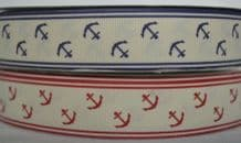 25mm CREAM WITH ANCHORS GROSGRAIN RIBBONS
