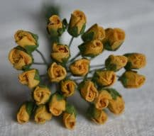 4mm OLD GOLD ROSE BUDS Mulberry Paper Flowers