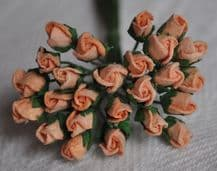 4mm PEACH ROSE BUDS Mulberry Paper Flowers