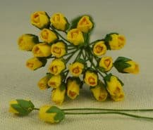 4mm YELLOW ROSE BUDS Mulberry Paper Flowers