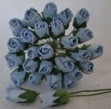 6mm BABY BLUE ROSE BUDS (L) Mulberry Paper Flowers