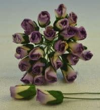 6mm LILAC VIOLET IVORY ROSE BUDS (L) Mulberry Paper Flowers