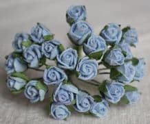 8mm BABY BLUE SEMI-OPEN ROSE BUDS Mulberry Paper Flowers