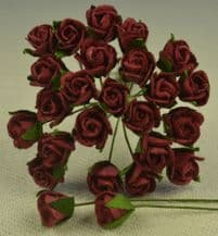 8mm BURGUNDY SEMI-OPEN ROSE BUDS Mulberry Paper Flowers