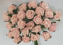 8mm LIGHT PINK SEMI-OPEN ROSE BUDS Mulberry Paper Flowers