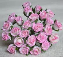 8mm ROSY PINK SEMI-OPEN ROSE BUDS Mulberry Paper Flowers