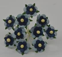 BABY BLUE NAVY BLUE CENTER 2-LAYERED sweetheart blossom Mulbery Paper Flowers
