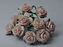 BLUSH BABY PINK ROSES (2.0cm) Mulberry Paper Roses