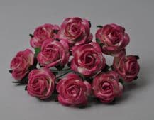 BRIGHT ROSY PINK ROSES (2.0cm) Mulberry Paper Roses