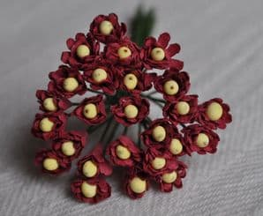 BURGUNDY GYPSOPHILA / FORGET ME NOT with Beads Mulberry Paper Flowers
