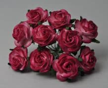 CERISE PINK ROSES (2.0cm) Mulberry Paper Roses