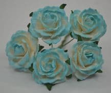 CYAN WHITE ENGLISH (2.5-2.7 cm) Mulberry Paper Roses