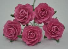 DEEP PINK ENGLISH (2.5-2.7 cm) Mulberry Paper Roses