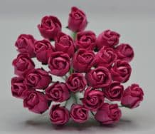DEEP PINK HIP ROSE BUDS Mulberry Paper Flowers