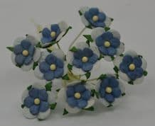 LIGHT BLUE BABY BLUE CENTER 2-LAYERED sweetheart blossom Mulbery Paper Flowers