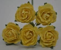LIGHT YELLOW  ENGLISH (2.5-2.7 cm) Mulberry Paper Roses